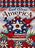Dyrenson Home Decorative Outdoor 4th of July Patriotic Cardinal Garden Flag Double Sided, God Bless America House Yard Flag, Red Bird Geraniums Decorations, USA Flower Seasonal Outdoor Flag 12 x 18
