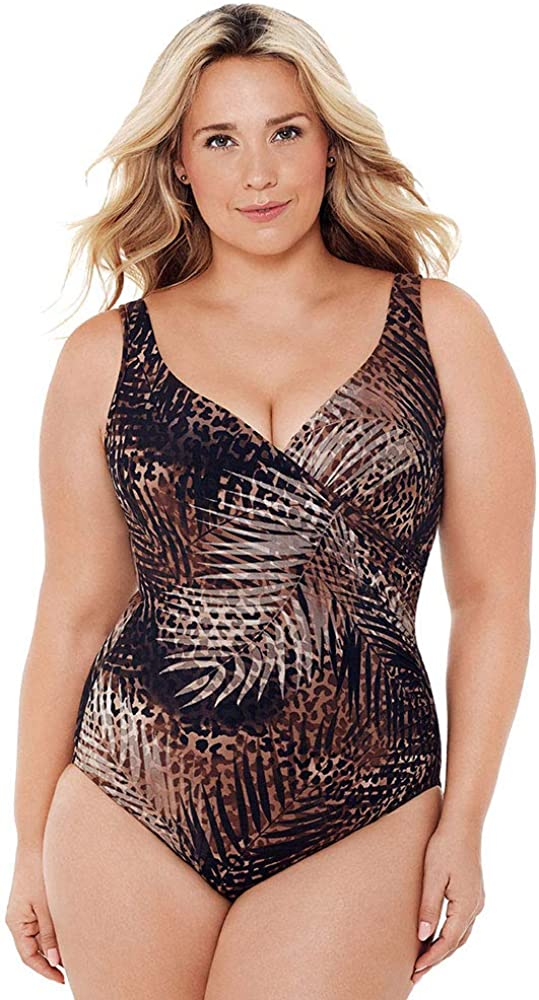 Miraclesuit Women's Plus Size Swimwear Tigris It's a Wrap Tummy Control V-Neckline Underwire Bra One Piece Swimsuit