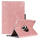 GUAGUA iPad Air 2 Case iPad Air Case Glitter 360 Degree Rotating Stand Smart Auto Wake/Sleep Cover with Pencil Holder Shockproof Full Body Protective Tablet Case for iPad Air 2/iPad Air 1 Rose Gold