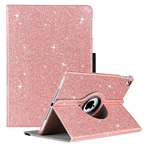 GUAGUA iPad Air 2 Case iPad Air Case Glitter 360 Degree Rotating Stand Smart Auto Wake/Sleep Cover with Pencil Holder Shockproof Full Body Protective Tablet Case for iPad Air 2/iPad Air 1 Rose Gold by GUAGUA