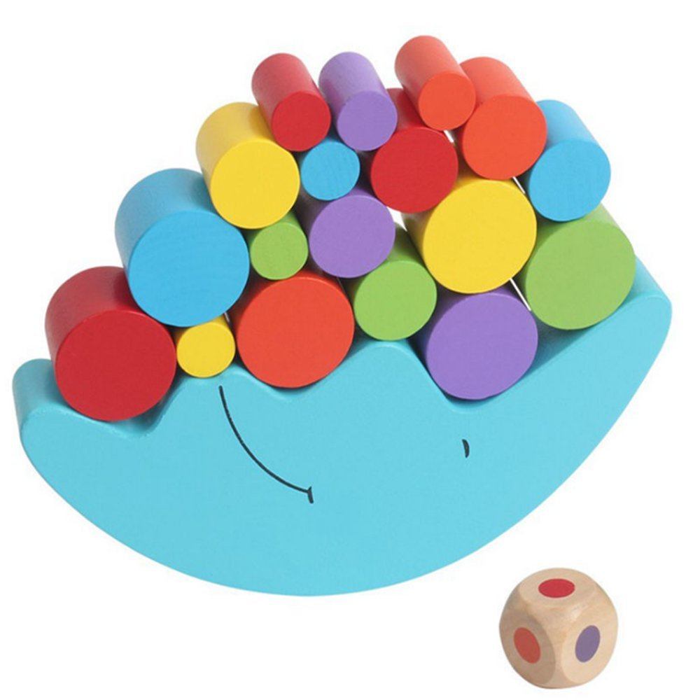 Elloapic Blue Balance Moon Wooden Stacking Blocks Balancing Game Childrens Hands-on and Parent-child Game Early Learning Toy