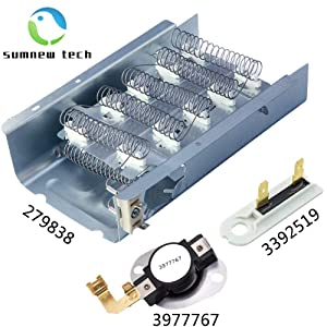 Sumnew Tech Dryer Heating Element Kit 279838 & 3977767 & 3392519 Dryer Replacement Element Compatible With Whirlpool & Kenmore Dryer