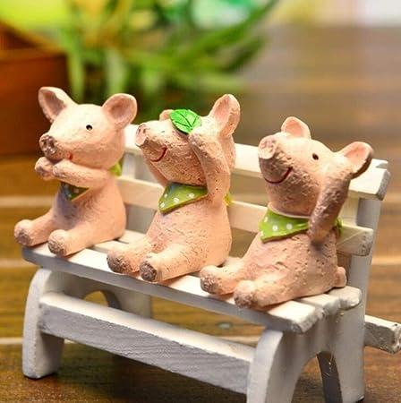 ShAwng 3 Piezas de Resina Figuras de Cerdo Micro Paisaje Mini Juguetes decoración del jardín del hogar Ornamento Lindo Cerdo Figura Juguetes Regalo para niños, Cerdo, Estados Unidos: Amazon.es: Hogar
