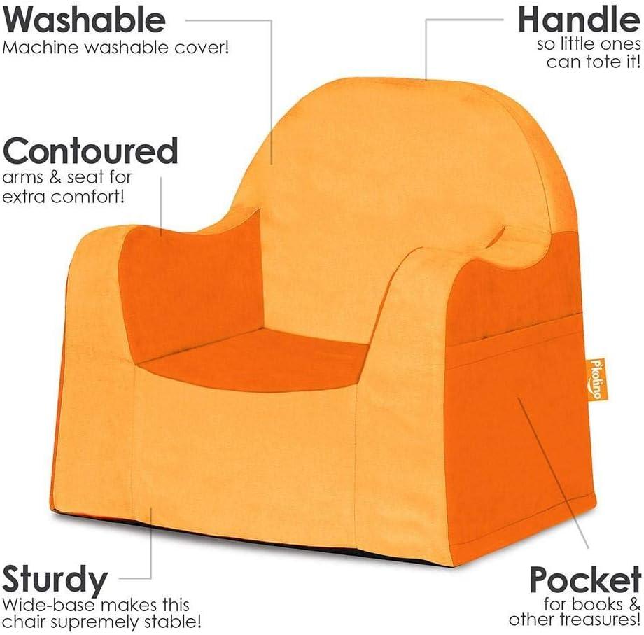 Sillón liviano y cómodo para el pequeño niño lector sillita para bebes con forro de microfibra resistente, Naranja (Orange)