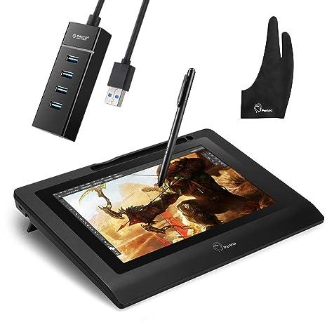 Parblo Coast10 - Tableta digitalizadora de 10,1 pulgadas, con lápiz inalámbrico y sin batería, hub con 4 puertos USB 3.0, con guante