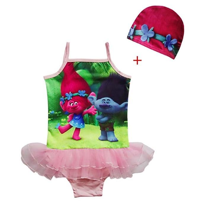 5f99b51eef0e1 BFS2 Kids Girls Trolls Poppy Bathing Suit Swimsuit Swimwear Swimming Dress  K105 (5-6 years(Tag size 130)): Amazon.ca: Clothing & Accessories