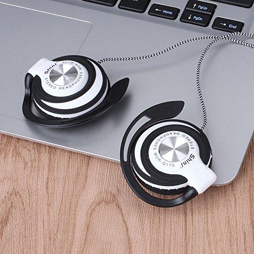 3.5mm Ear-Hook Earphone Headset Clip On Ear Sport Headphones EarHook Headphones for Phone Mp3 Player Computer_White