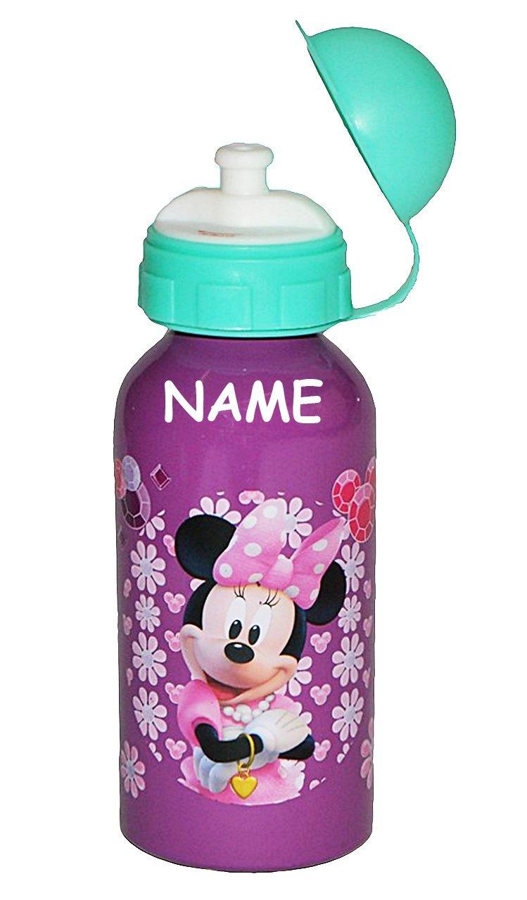 auslaufsicher Namen Trinkflasche Minnie Mouse incl Edelstahl aus Aluminium 400 ml f/ür Kinder Aluflasche Flasche M/ädchen Minni Maus lila Blumen .. Unbekannt ALU