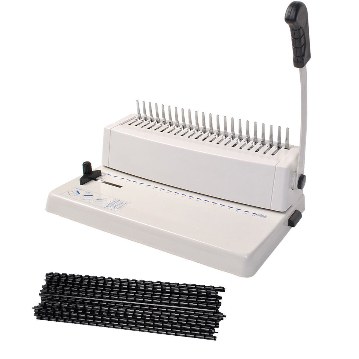21-Hole 250 Sheets Paper Comb Punch Binder Binding Machine Scrapbook w/200 Combs nooshi