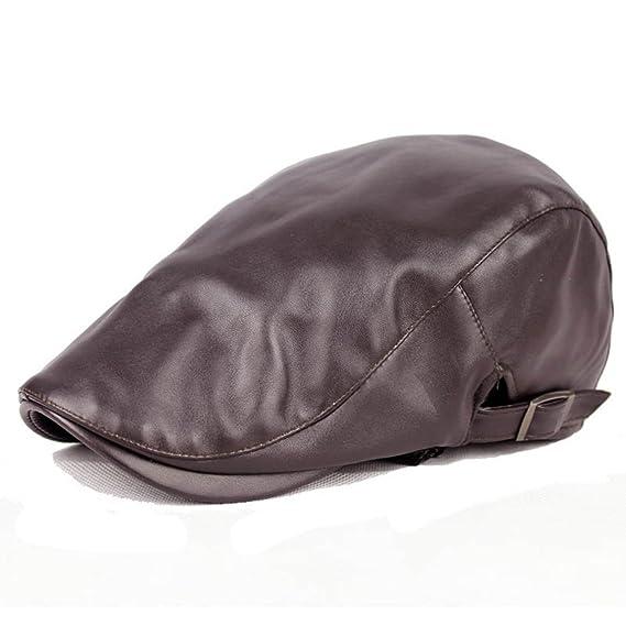 ZLSLZ Mens PU Leather Warm Ivy Newsboy Cabbie Gatsby Dad Golf Driving Hat  Cap Black at Amazon Men s Clothing store  bf7f4cdb39f2