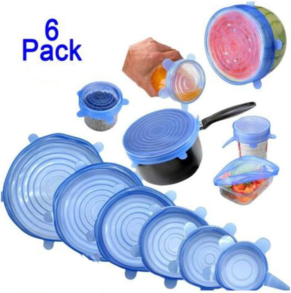 HiCharmcci 6 Pcs Silicone Elastic Cover Stretch Lids-6 Different Sizes Reusable Elastic Durable Food Bowl Covers Expandable Flexible Silicone Dish Cover for Bowls Cups Cans(blue)