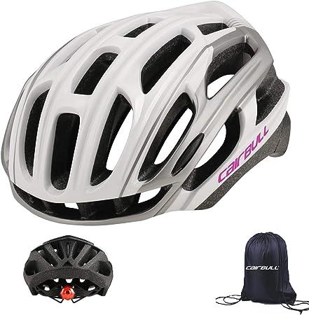 Cairbull - Casco de Ciclismo para Hombre y Mujer (54-61 cm) con 29 Rejillas de ventilación, Ligero Casco de Bicicleta con lámpara LED