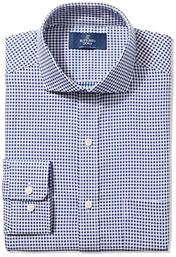 (BUTTONED DOWN Men's Classic Fit Cutaway-Collar Non-Iron Dress Shirt, Navy Small Textured Check, 14.5