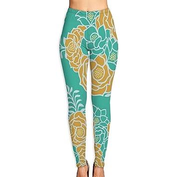 cleaer Green Gold Floral Bouquet High Waist Yoga Pants Tummy ...