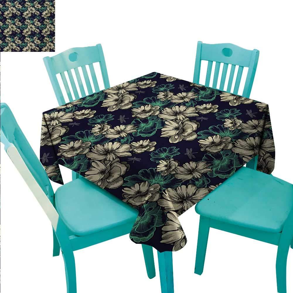 ヴィンテージエレガント 防水 こぼれ防止 ポリエステル生地 テーブルカバー 装飾モチーフ 花柄 抽象的 オリエンタル 幾何学模様 インドア アウトドア キャンプ ピクニック 幅50インチ x 長さ80インチ トープ ホワイト 70