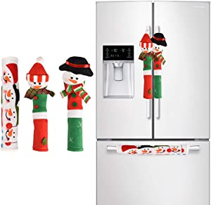 DayliPillow 3 Piece Set Christmas Snowman Refrigerator Appliance Handle Covers Christmas Decorations Fits Standard Size Kitchen Refrigerator Microwave Oven Or Dishwasher