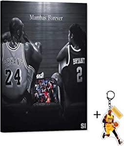 Kobe and Gianna Maria-Onore Bryant Canvas Wall Art Mambas Forever Memory Artwork for Home Wall Decor, Collection of Kobe and Gigi Canvas Print for Room Decoration (Framed Wall Art,24x36inch)