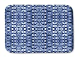 KAVKA DESIGNS Shibori Mirror Memory-Foam Bath Mat, (Blue) - SALTWATER Collection, Size: 17x24x0.75 - (BBAAVC6502SUMS)