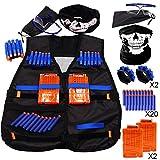 Tiannuofa Tactical Vest Kit for Nerf N-Strike Elite Series + 20-Dart Refill + Vision Gear + 5-Dart Quick Reload Clip + 9-Dart Hand Wrist Band + Face Tube Mask