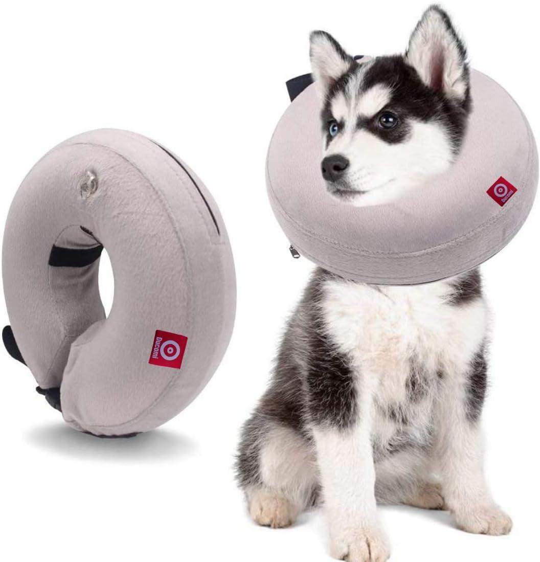 Ducomi Collar de Recuperación Inflable para Perros, Cono de Cuello Isabelino Ajustable para Mascotas Recuperación de Cirugía o Heridas - Previene la Infección por Arañazos y Picaduras (Gris, XS)