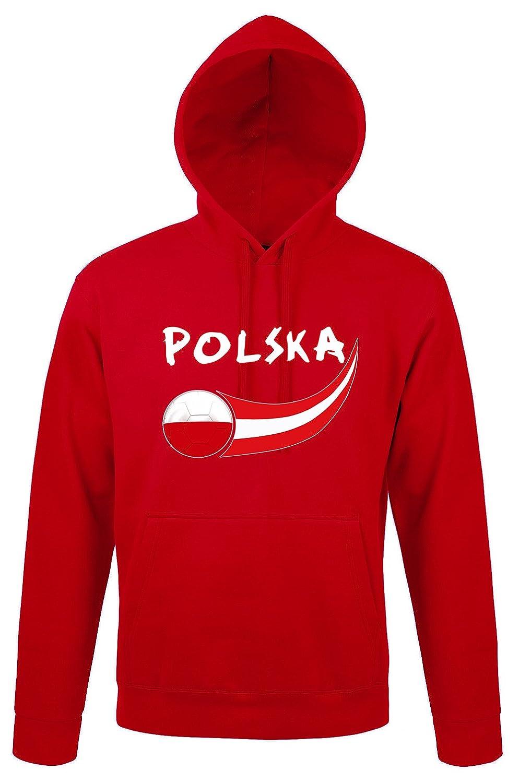 Supportershop–Felpa Cappuccio Polonia Uomo, Rosso, Fr: L (Taglia Produttore: L) SUPQM|#Supportershop 5060542525220