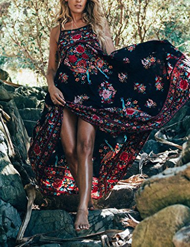 mujer maxi Floral verano Sling para sin hibote Sundresses Negro Beach Arnés Vestidos de mangas Peacock Vestido Impreso tSUq5w