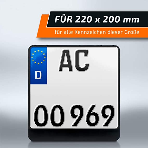 Schildevo Kennzeichenhalter 220 X 200 Mm Schwarz Zweizeilig Motorrad Roller Quad Dhl Versand Auto