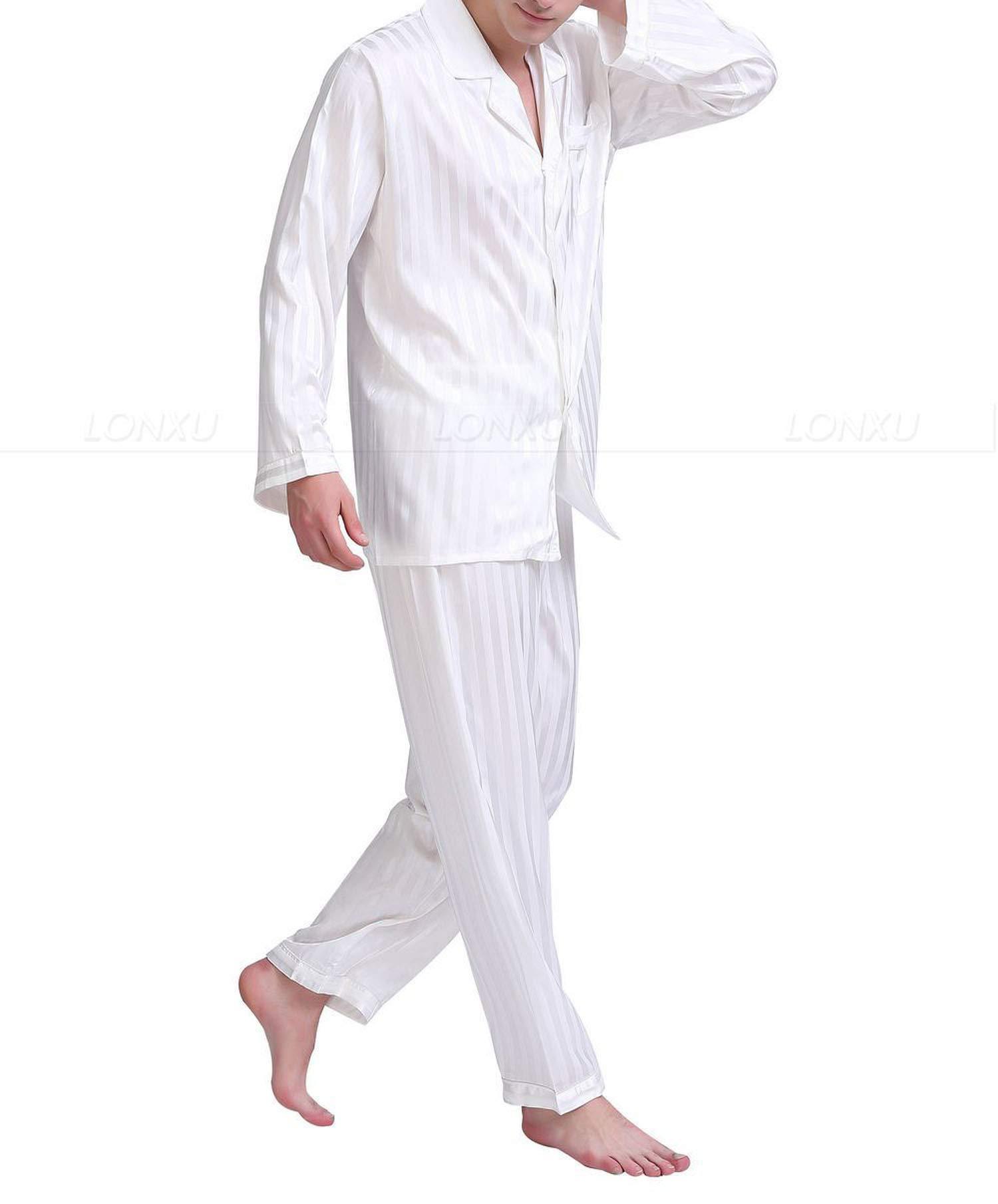 Mens Silk Satin Pajamas Set Pajama Pyjamas Sleepwear Set Loungewear,White,XXXL