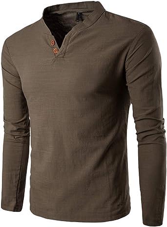 Camisa de Lino Hombre Sin Cuello Cuello de Henley Manga Larga Casual y Fresca Blusa Camisas de Vestir Slim Fit Verde Oscuro XXL: Amazon.es: Ropa y accesorios