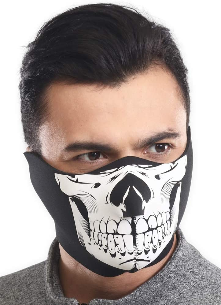 Zan Headgear Black Neoprene Half Face Mask Motorcycle Snowboarding Ski ATV