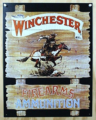 Winchester Firearms Ammunition Cowboy on Horse Rider Tin Sign 13 x (Winchester Ammunition)