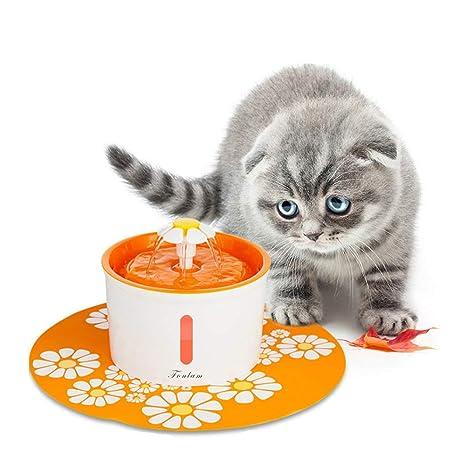 FONLAM Fuente para Gato Perrito Perro Cachorro Bebedero Automático de Silencio con Filtro + Alfombrilla Impermeable