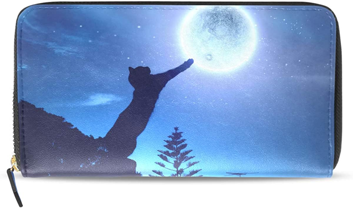 Long Wallet for Women Black Cat Catching Moon Galaxy Credit Card Holder