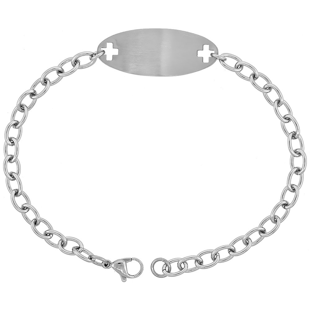 9 inch long Surgical Steel Medical Alert Bracelet for HIGH BLOOD PRESSURE ID 9//16 inch wide