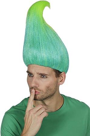 Wilbers Troll Peluca Verde Neon Pelo Largo Trenzado para Disfraz ...