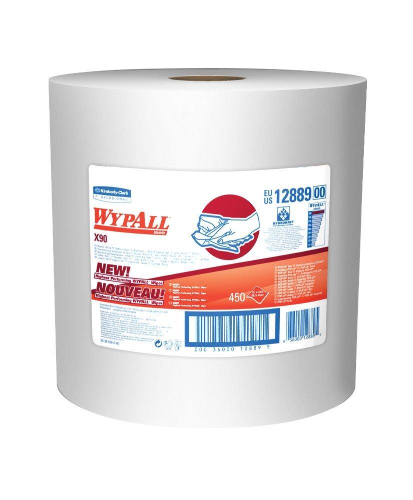 WYPALL X90 Extended Use reutilizables trapos de limpieza (12.889) Rollo Jumbo, Azul Denim, 12.6