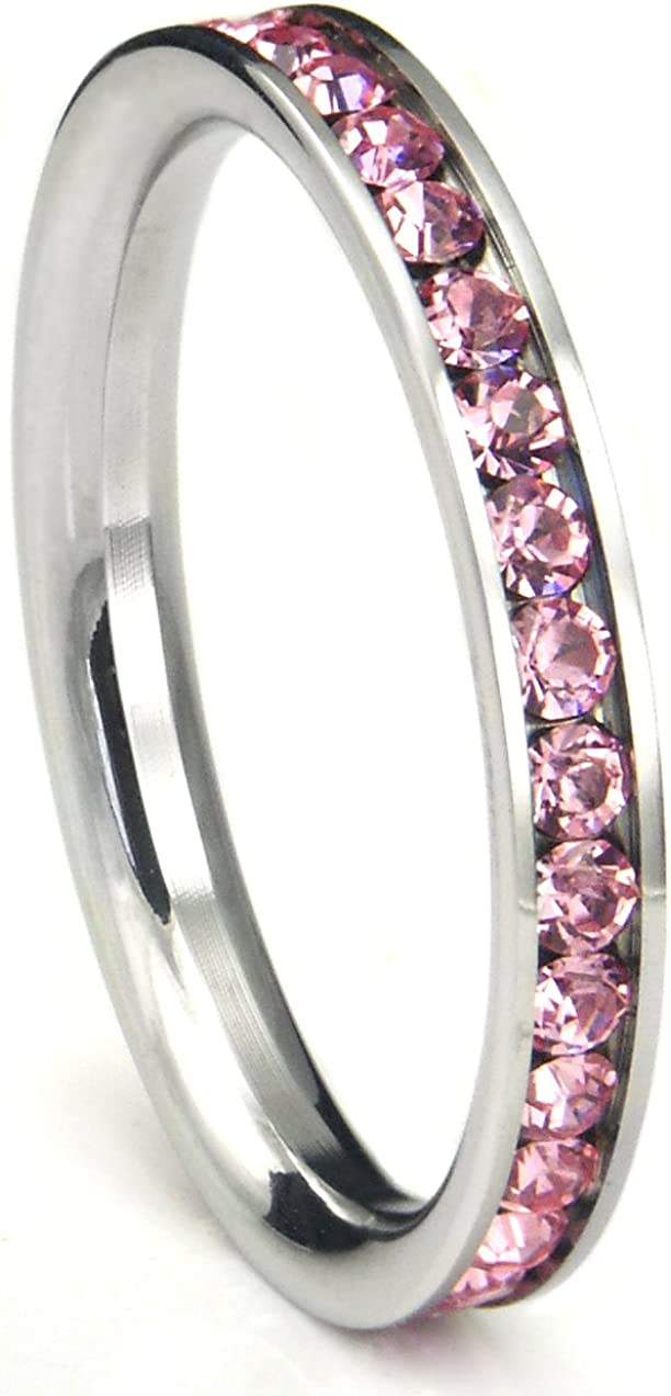 Metal Factory 316L Stainless Steel Red Cubic Zirconia CZ Eternity Wedding 3MM Band Ring Comes Box