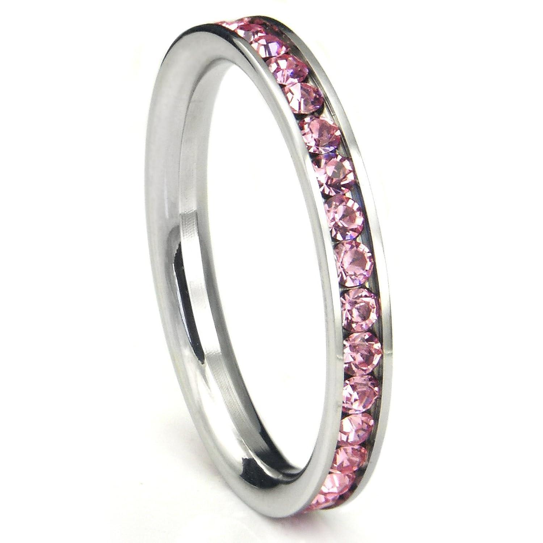 Amazon 316L Stainless Steel Pink Cubic Zirconia CZ Eternity