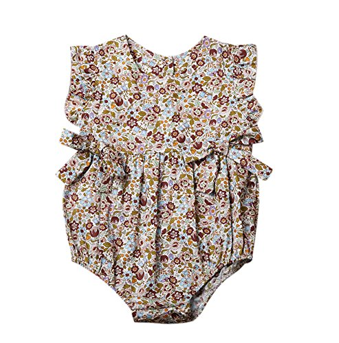 Mornbaby Baby Girls Sleeveless Butterfly Bow Ruffled Hollow One-Piece Romper Bodysuit (0-3M, -