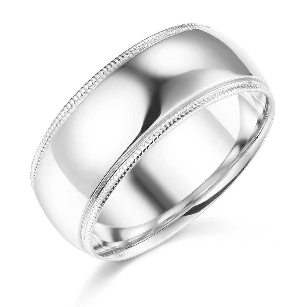 Wellingsale Mens 14k White Gold Solid 8mm COMFORT FIT Milgrain Traditional Wedding Band Ring - Size 10.5
