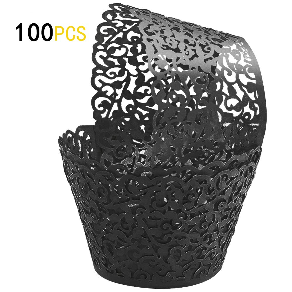 GOLF 100Pcs Cupcake Wrappers | Artistic Bake Cake Paper Filigree Little Vine Lace Laser Cut Liner Baking Cup Wraps Muffin CaseTrays for Wedding Party Birthday Decoration (Black)