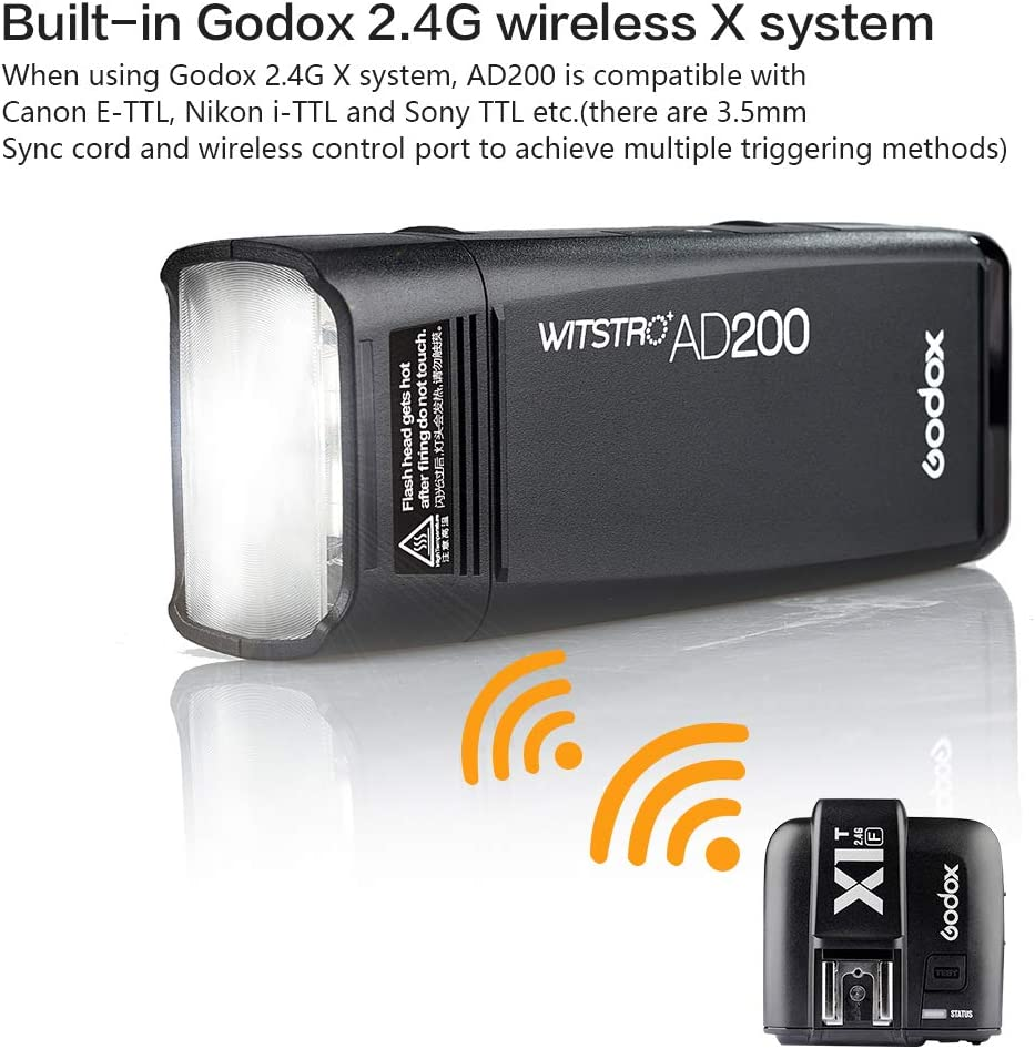 GODOX AD200 kit 200Ws 2.4G Flash Strobe 1//8000 HSS Flashes 0.01-2.1s Recycling Bare Bulb//Speedlite Fresnel Flash AD200