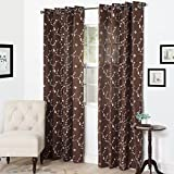 Cheap Semi Sheer Grommet Style Curtains – Floral Embroidered Pattern Window Curtain Panel for Living Room Bedroom, 95 x 54 Inch by Lavish Home (Chocolate)