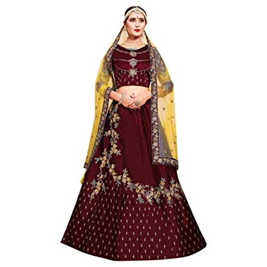 34a6b28cc61e0f Amazon.com: Wine Stylish Lehenga Silk Wedding Ethnic Zari Handwork Ghagra  Choli Dupatta Indian Women 7521: Clothing