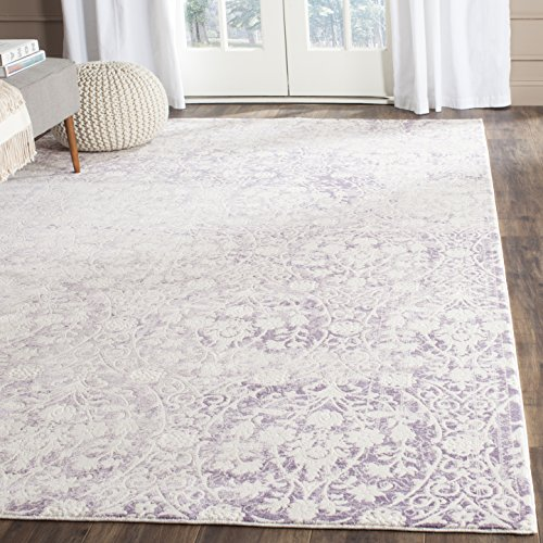 Safavieh Passion Collection PAS403A Vintage Medallion Watercolor Lavender and Ivory Distressed Area Rug (5'1