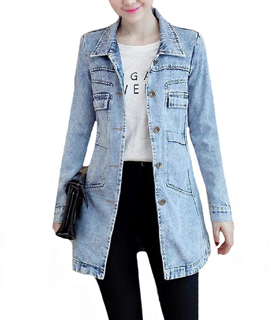 Winwinus Women's Mid-Long Slim Denim Boyfriend Outwear Jacket Plus Size