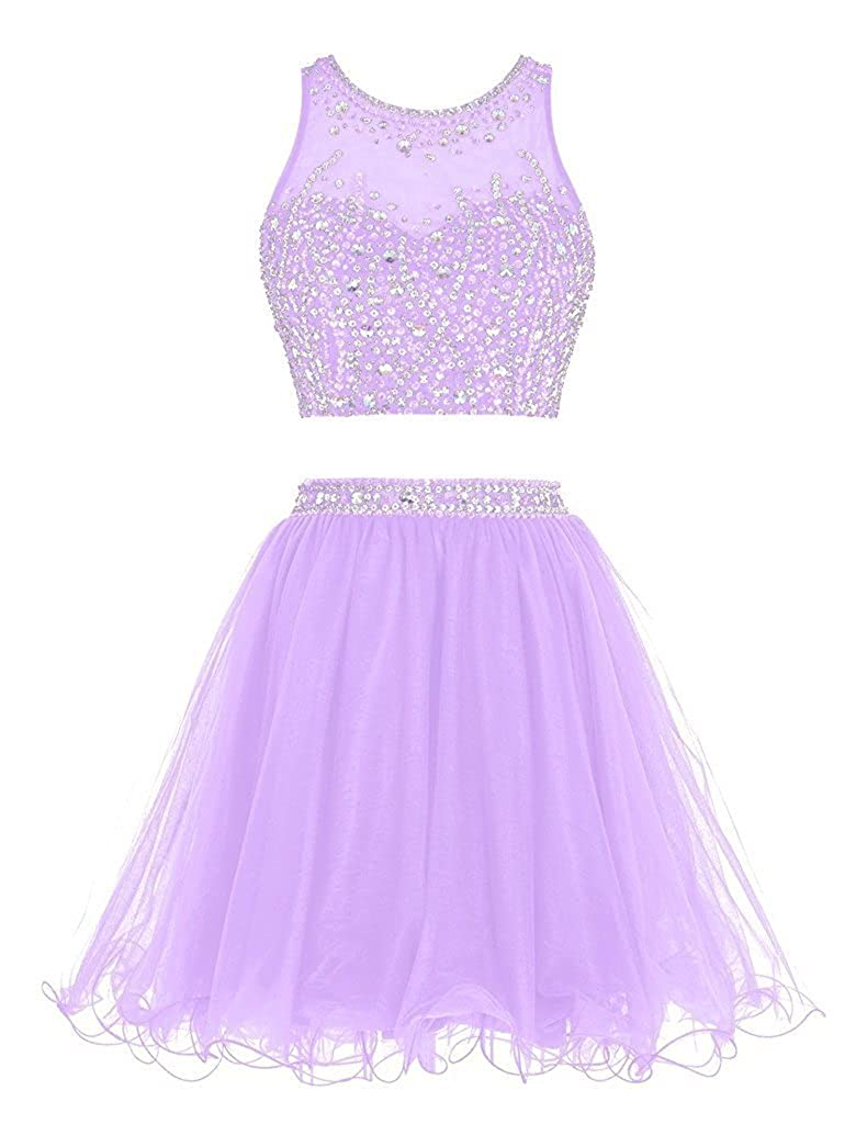 Lavender APXPF Women's Short Two Pieces Organza Beaded Cocktail Party Bridesmaid Dress