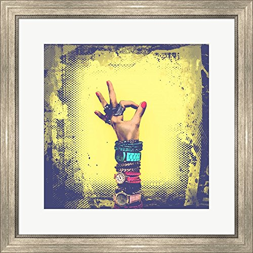 Ok! Grunge Halftone Yellow by Color Me Happy Framed Art Print Wall Picture, Silver
