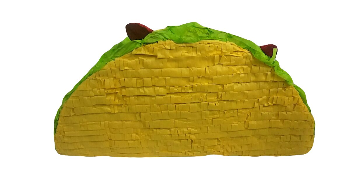 Pinatas Mexican Taco, Party Game, Decoration and Photo Prop for Cinco de Mayo, San Antonio Fiesta Week or Fiesta Themed Birthdays and Events, 19'' L
