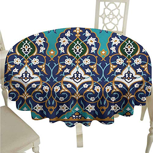 (Moroccan Spill-Proof Tablecloth Ottoman Folkloric Art Inspired Abstract Aged Middle Age Renaissance Artful Print Easy Care D47 Navy Blue)